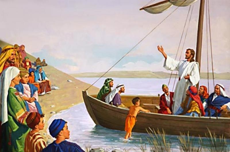 Jesus Preached at the Lake of Gennesaret in Simon Peter's Boat and Jesus Performed a Miracle for Peter to Catch Many Fishes