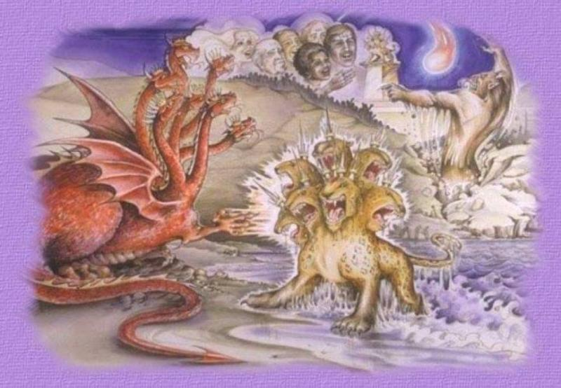 Revelation 13: The Beast from the Sea and the Beast from the Land.